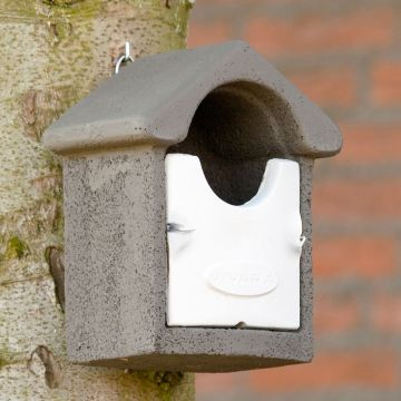 Fågelholk Barcelona WoodStone® halvöppen - Grå