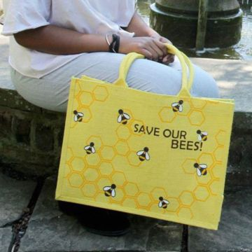 Rädda bina. Kasse av juteväv