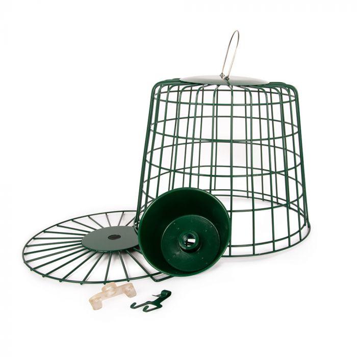 Fågelmatare för mjölmask med skyddsbur